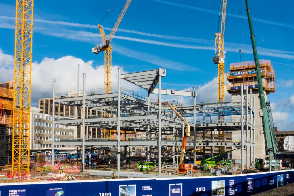 Progress on the construction site in Cardiff