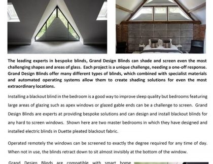 Grand Design Blinds – the specialists in shaped blinds