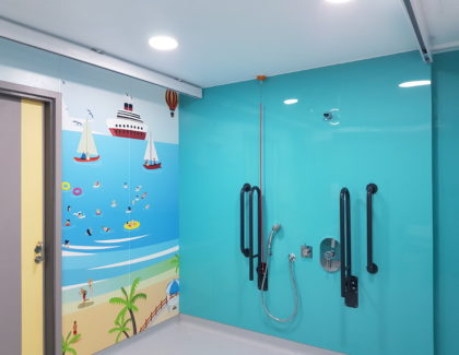 Children supported by a new inclusive washroom at Royal Preston Hospital